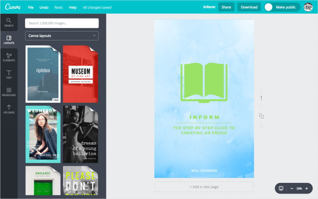 Inform cover in Canva