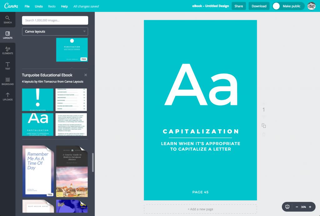 Sample ebook cover in Canva