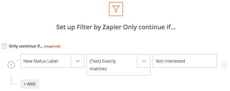 Zapier filter for lost deals