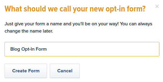 Name opt-in form