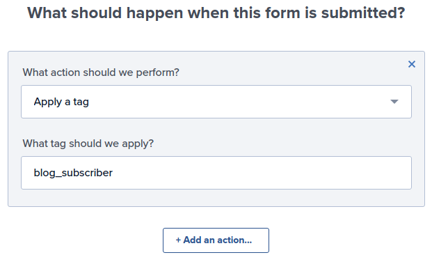 Tag subscriber when form is submitted