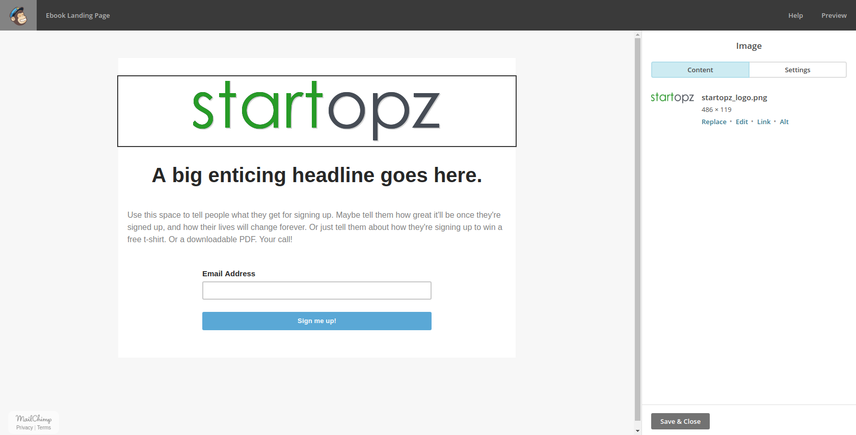 Adding a landing page logo
