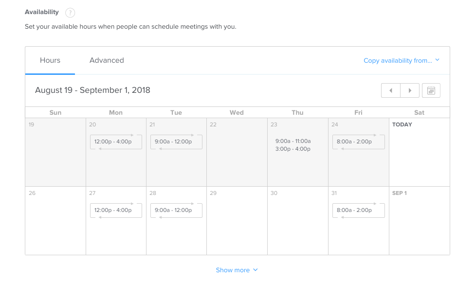 Monthly schedule in Calendly